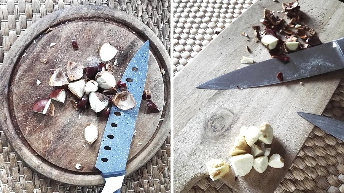 Kastanien trocknen: geviertelte Kastanien mit und ohne Schale
