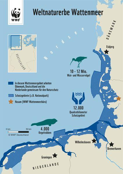 Unser Wattenmeer: Infos zur Entstehung, zum Ökosystem und zum Weltnaturerbe: Wattenmeer Karte vom WWF