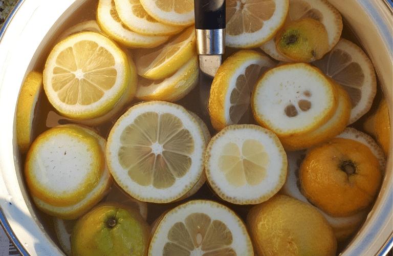 Holünderblütensirup herstellen: Schnell und einfach_ Zitronen hinzufügen